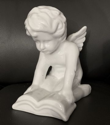 Cherub Kneeling & Reading BIBLE BOOK